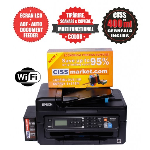 Epson WorkForce WF-2630WF CISS, ADF, Fax, WiFi label
