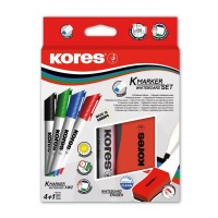 Marker Whiteboard 4/set 3mm cu Burete Margnetic Kores